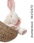Adorable generic stuffed bunny in woven basket on white background with copy space. - stock photo