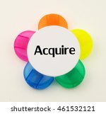 Small photo of Multicolored highlighter casing isolated on white background with word acquire