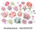 watercolor set with different... | Shutterstock . vector #461534155