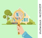 magnifying glass with house.... | Shutterstock .eps vector #461534359