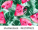 watermelons  tropical palm... | Shutterstock .eps vector #461539621