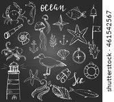 doodle set of ocean life and... | Shutterstock .eps vector #461542567