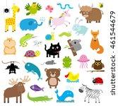 zoo animal set. cute cartoon... | Shutterstock .eps vector #461544679