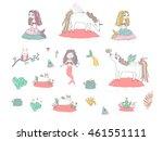 cute unicorns  beautiful... | Shutterstock .eps vector #461551111