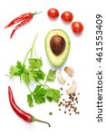 Small photo of A food and healthy lifestyle concept: Italian herbs and spices. Top view. Isolated on white.