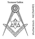 freemason square and compass ... | Shutterstock .eps vector #461564401