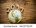 new year 2017 with round globe... | Shutterstock . vector #461573149