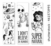 set of bookmarks. flying saucer ... | Shutterstock .eps vector #461573995