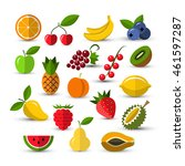 set of different fruits and... | Shutterstock . vector #461597287