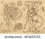 retro mechanisms and machines... | Shutterstock .eps vector #461601121