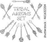 vector set of doodles tribal... | Shutterstock .eps vector #461632204