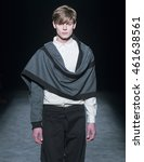 Small photo of BARCELONA - FEBRUARY 03: a model walks on the Edgar Carrascal catwalk during the 080 Barcelona Fashion runway Fall/Winter 2016 on February 03, 2016 in Barcelona, Spain.