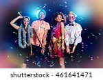 group of cheerful friends... | Shutterstock . vector #461641471