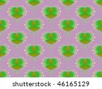 Computer generated fractal image with a green heart design on a pink background. - stock photo