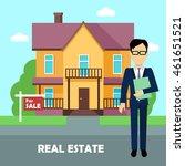 real estate broker at work.... | Shutterstock .eps vector #461651521