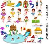 childrens fun in summing water... | Shutterstock .eps vector #461653255