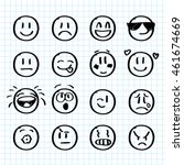 set of hand drawn smiles on... | Shutterstock .eps vector #461674669