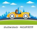 yellow retro car on city... | Shutterstock .eps vector #461693059