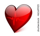 Red Glass Heart With Cardiogra...