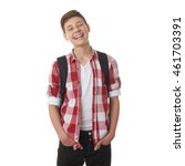 cute teenager boy in red