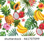 seamless pattern with tropical... | Shutterstock .eps vector #461707099