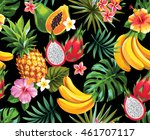 seamless pattern with tropical... | Shutterstock .eps vector #461707117