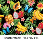 seamless pattern with tropical... | Shutterstock .eps vector #461707141