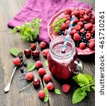 smoothies of raspberry and... | Shutterstock . vector #461710261