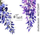 watercolor wisteria flower... | Shutterstock . vector #461712649