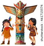 two red indians and totem pole... | Shutterstock .eps vector #461715574