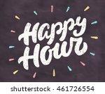 happy hour. chalkboard sign. | Shutterstock .eps vector #461726554