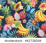 seamless pattern with tropical... | Shutterstock .eps vector #461728204