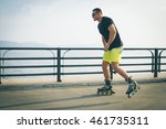 young man with inline skates...   Shutterstock . vector #461735311