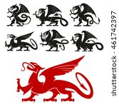 heraldic griffin emblem set and ... | Shutterstock .eps vector #461742397