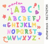 hand drawn marker colorful... | Shutterstock .eps vector #461742934