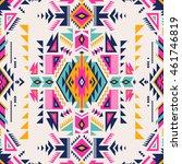 retro multicolor tribal navajo... | Shutterstock .eps vector #461746819