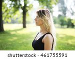 meditation. lovely woman in the ... | Shutterstock . vector #461755591