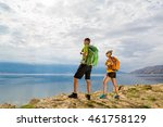 happy couple hikers trekking in ... | Shutterstock . vector #461758129