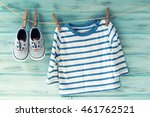 baby boy striped shirt and baby ... | Shutterstock . vector #461762521