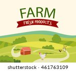 rural farm landscape with hen... | Shutterstock .eps vector #461763109