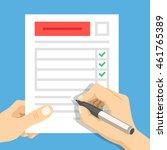 man hand filling form. hand... | Shutterstock .eps vector #461765389