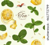 vector fruit tea seamless... | Shutterstock .eps vector #461772799