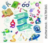 back to school. school supplies ... | Shutterstock .eps vector #461784361
