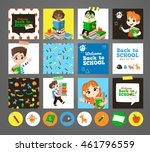 back to school set. pupils read ... | Shutterstock .eps vector #461796559