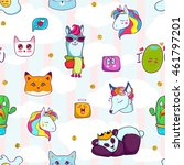 animal patches set colorful... | Shutterstock .eps vector #461797201