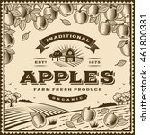 vintage brown apples label.... | Shutterstock .eps vector #461800381