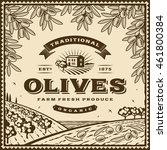 vintage brown olives label.... | Shutterstock .eps vector #461800384