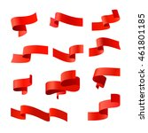 red vector ribbons. vector set | Shutterstock .eps vector #461801185