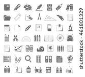 black icons   school supplies | Shutterstock .eps vector #461801329