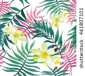 tropical palm leaves  fern ... | Shutterstock .eps vector #461807101